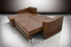 100% Real Leather Corner Sofa Bed Atos, Universal Hand, All Colours Available