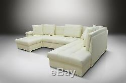 100% Real Leather U Shaped Sofa Bed Eric, All Colours Available, 2 Men Delivery