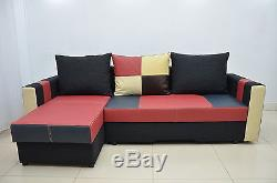 100%real Leather Corner Sofa Bed'bobby' Best Price, Springs Inside! Colours