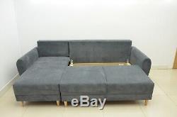 £120 off! SUPER COMFY CORNER SOFA BED INGA, SOFT WAFFLE FABRIC, DK GREY, SALE