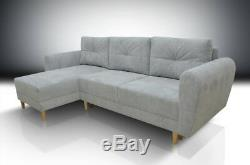 £130 off! SUPER COMFY CORNER SOFA BED INGA, SOFT WAFFLE FABRIC, GREY, SALE