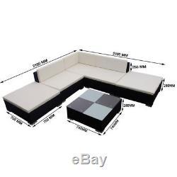 15pcs Black Patio Sun Rattan Lounger Deck Corner Sofa Bed Table Chair Set Garden