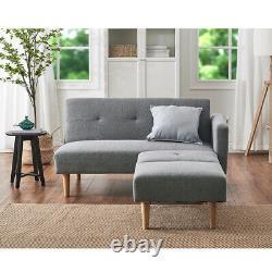 2/3 Seater Grey Velvet/Linen Fabric Corner Sofa Bed Recliner Lounge with Footstool