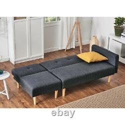 2 Seater Corner Sofa Bed Armchair Recliner Sofabed with Footstool Furniture