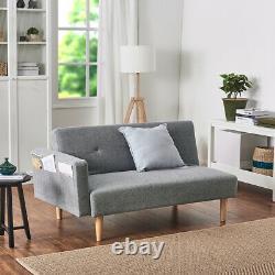 2 Seater Grey Linen Fabric Corner Sofa Bed Armchair Recliner w Footstool Option