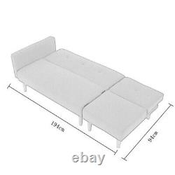 2 Seater Grey Linen Fabric Corner Sofa Bed Recliner Lounger with Footstool Option