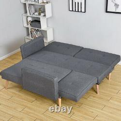 3/4 Seater Fabric Corner Sofa Bed Lounger Recliner Chaise with Footstool