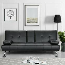 3 Seater Black Faux Leather Sofa Bed Recliner Cup Holder Click Clack Sofabed