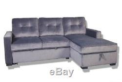 3 Seater Corner Sofa Bed with Storage- Available in 2 Colours