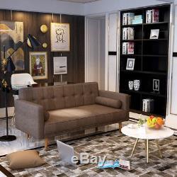 3 Seater Fabric Corner Sofa Bed Wood Legs With Cushions Modern Home Furniture UK