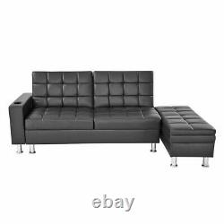 3 Seater Faux Leather Corner Sofa Bed w Ottoman & Cup Holder Recliner Sofabed