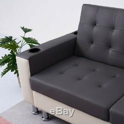 3 Seater Grey Faux Leather Sofa Bed with Storage Ottoman Recliner Sofabed Couch