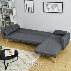 3 Seater L-Shape Grey Linen Corner Sofa Bed Couch Recliner Armchair w Footstool