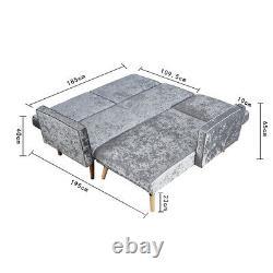 3 Seater L-Shape Silver Velvet Corner Click-Clack Sofa Bed Armchair Recliner