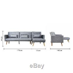 3 Seater L-Shape Silver Velvet Corner Sofa Bed Couch Settee Recliner Armchair