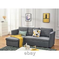 3 Seater L-Shaped Grey Fabric Corner Sofa Bed Recliner Lounger w Storage Chaise