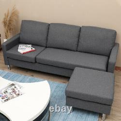 3 Seater Left & Right Corner Sofa Linen Sofa With Armrest Bed Couches Footstool