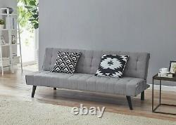 3 Seater Sofa Bed + Chaise Grey L Shape PVC Fabric Recliner Corner Sofabed Home