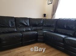 A Beautiful Leather Corner Suite With Built In Sofa Bed And 1 Recliner