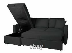 Argos Home Reagan Left Corner Fabric Sofa Bed with Storage Charcoal