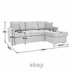Argos Home Reagan Right Corner Fabric Sofa Bed with Storage Charcoal