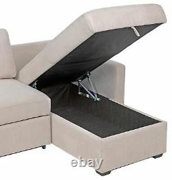 Argos Home Reagan Right Corner Fabric Sofa Bed with Storage Natural