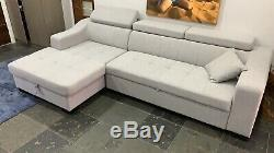 Ayana Corner Sofa Bed with Storage, Grey Fabric, Modern Xmas Sale RRP £1495.00
