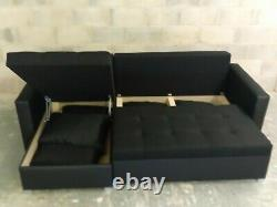 BLACK ON BLACK L-Shaped Universal Corner Sofa Bed TWO Storage boxes