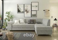 BMF'BARDOT' MODERN Corner Sofa Bed Storage CHROME LEGS Faux Leather/Fabric RF