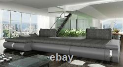 BMF'FADO' MODERN Corner Sofa Bed Storage Faux Leather/Fabric LF
