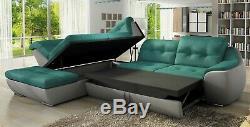 BMF'GALAXY D' MODERN Corner Sofa CHROME LEGS Bed Storage Faux Leather/Fabric LF
