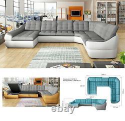 BMF'INFINITY XL FP' MODERN Corner Sofa Bed Storage Faux Leather/Fabric LF