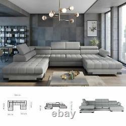 BMF'SELVA XL' Modern Corner Sofa Bed Storage Faux Leather/Fabric LF