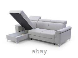 BMF VERMONT MODERN CORNER SOFA BED STORAGE CHROME LEGS FABRIC 252 cm wide LEFT