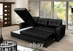 BRAND NEW Corner Sofa Bed with Storage, Brown Faux Leather. UNIVERSAL CORNER