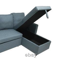 BRAND NEW Scandinavian style CORNER SOFA BED GREY FABRIC WITH STORAGE