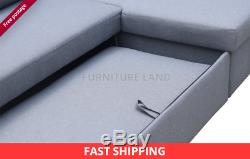 BRAND NEW Scandinavian style LARGE CORNER SOFA BED GREY FABRIC R/S WITH STORAGE
