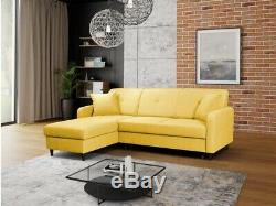 BRIGHT YELLOW CORNER SOFA BED. Quality fabric& sprung seat. With storage. LEFT