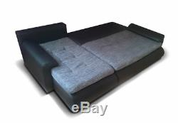 BROWN LEFT CORNER SOFA BED. WITH STORAGE. FABRIC& eko leather. Sprung SEAT