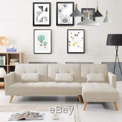 Beige Luxury L-Shape Fabric Sofa Bed Corner Couch 3/4 Seater With 3 Cushions