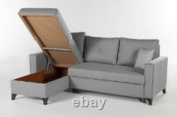 Bellona Lyon Corner Sofa Bed With Storage L Shaped Sofa Bed Grey