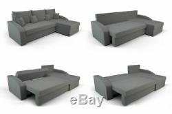 Black & Grey Corner Sofa Bed. With Storage