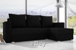 Black L-SHAPE CORNER SOFA BED WITH STORAGE. REVERSIBLE CORNER