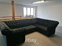 Black Velvet U-shaped extra high back Chesterfield corner sofa with bed