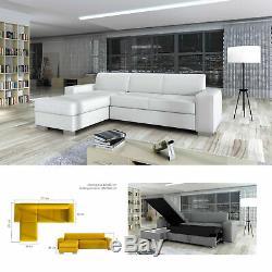 Bmf Sento White Medium Size Fabric Or Faux Leather Corner Sofa Bed Bedding Lf