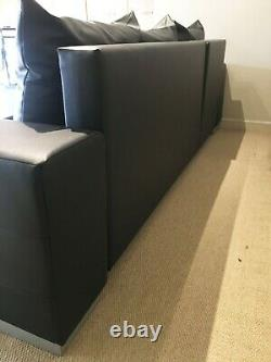 Brand New Black Faux Leather/ Fabric, Corner Sofa Bed with storage, made in Ger