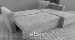 Brand New CORNER SOFA BED Jumbo Cord Black Grey Brown Right Left 2 Storage