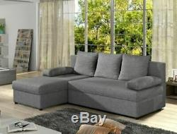Brand New Cheap Gino Corner Right / Left Sofa / Bed With Storage Grey Black