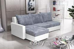 Brand New Corner Sofa Bed Gray And White With Storage