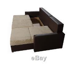 Brand New Corner Sofa Bed Gray And White With Storage
